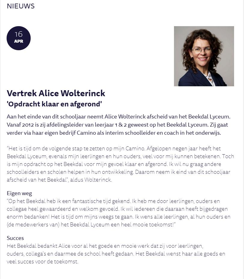 Alice Wolterinck, Camino, Interim, Coaching